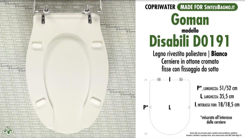 COPRIWATER per wc DISABILI GOMAN. DISABILE D0191 APERTO CON COPERCHIO FS